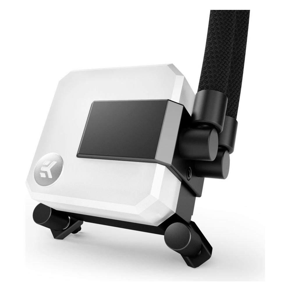A large main feature product image of EK AIO 240 D-RGB AIO Liquid CPU Cooler