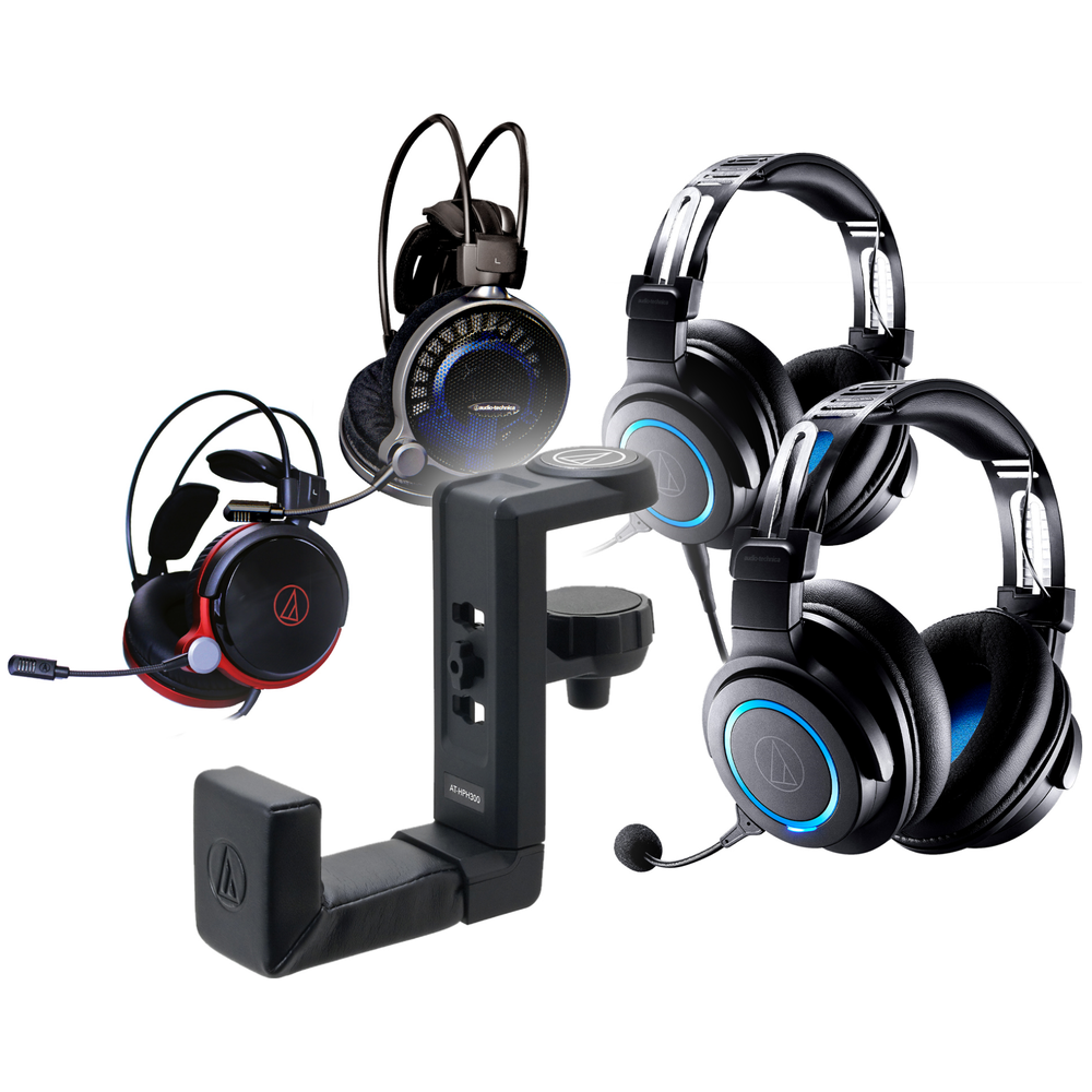 A large main feature product image of Audio Technica Gaming Headset + Free Hanger