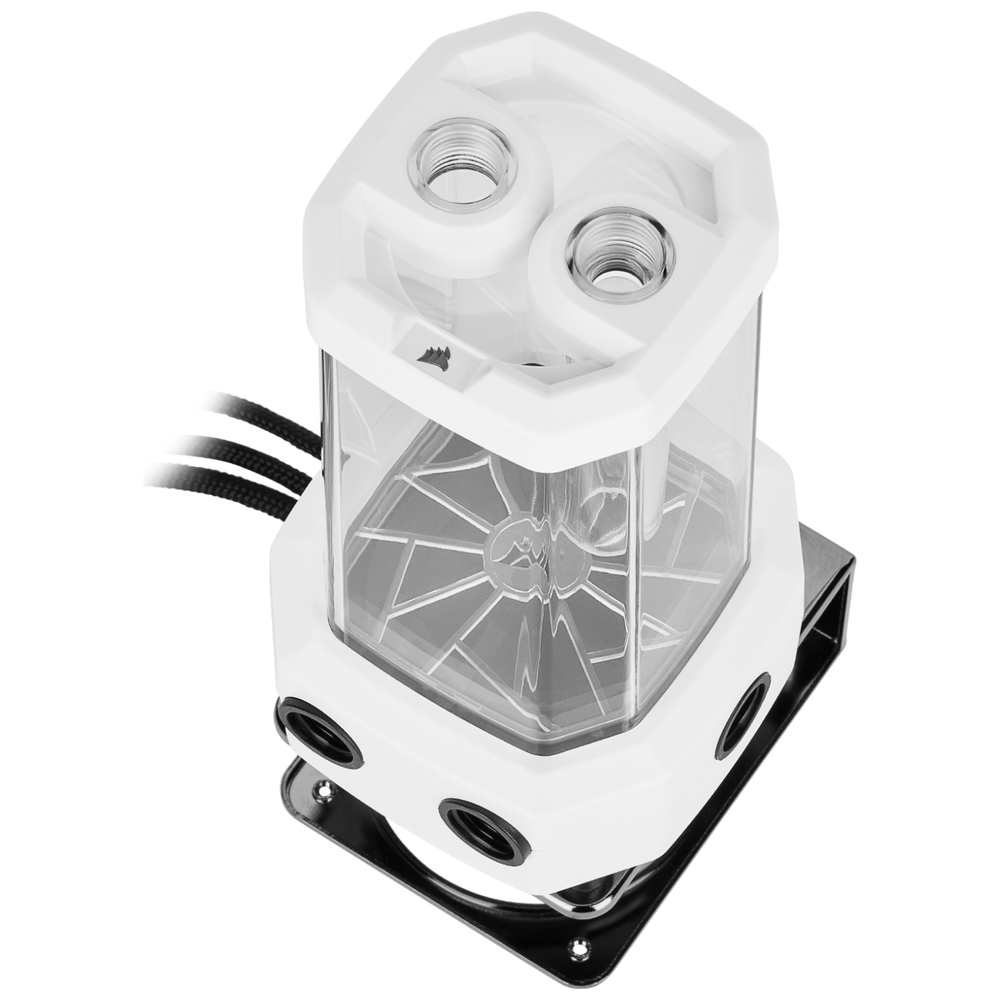 A large main feature product image of Corsair Hydro X Series XD5 RGB Pump/Reservoir Combo - White