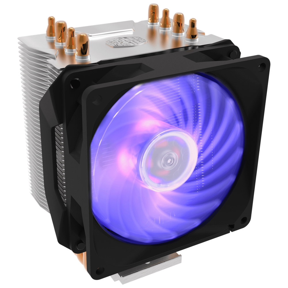A large main feature product image of Cooler Master Hyper H410R RGB CPU Cooler