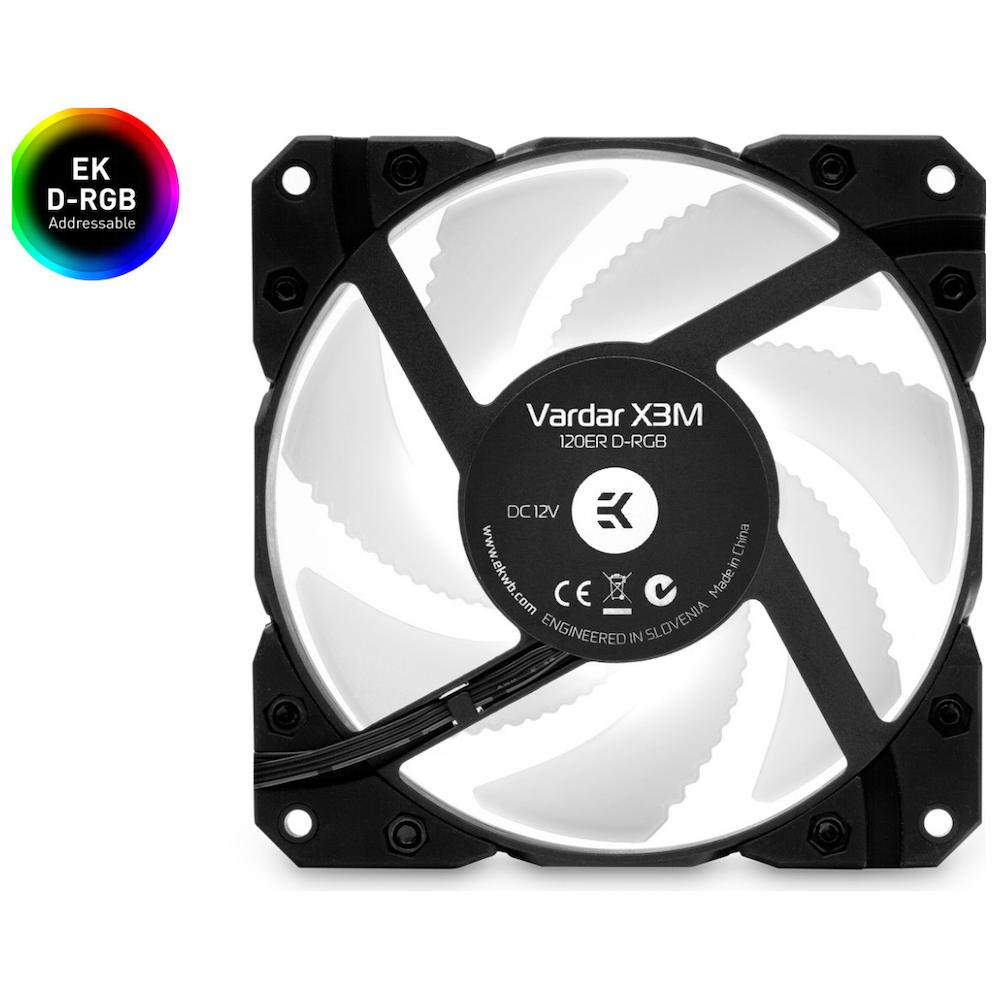 A large main feature product image of EK Vardar X3M 120ER D-RGB 120mm Fan - Black