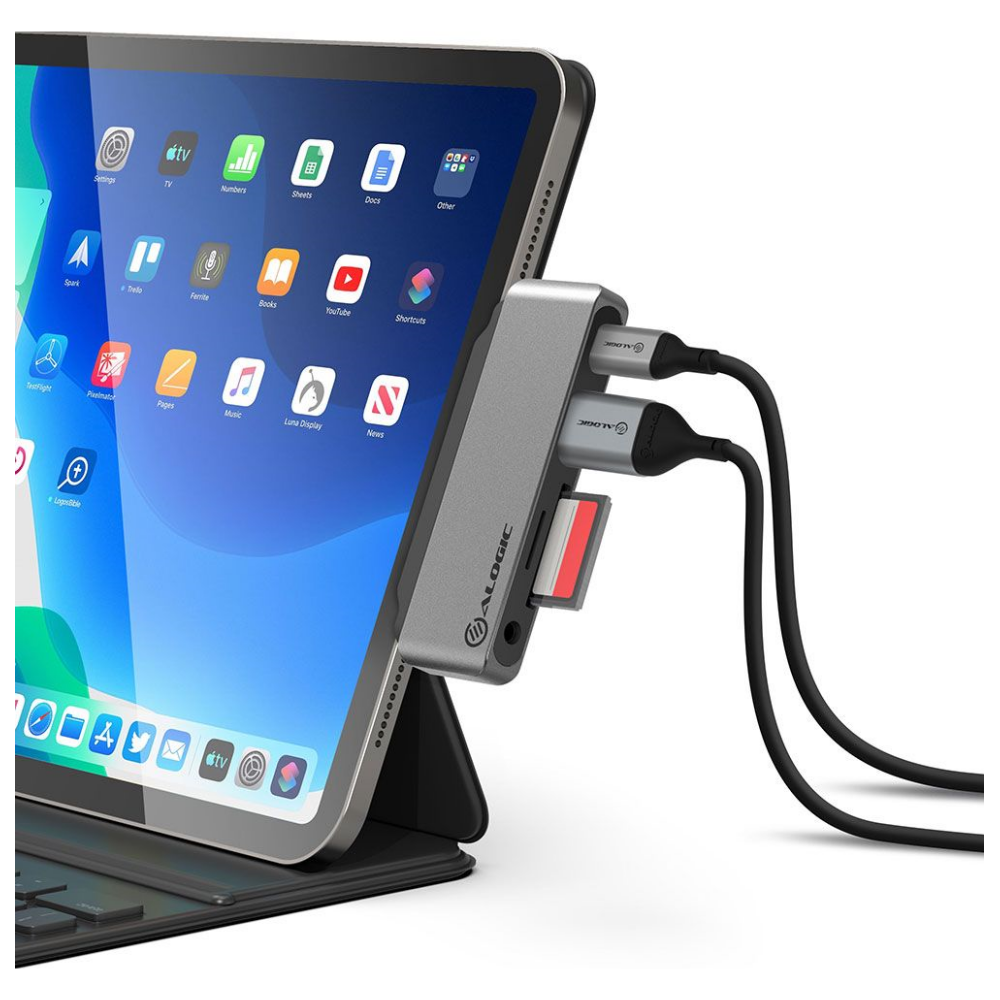 A large main feature product image of ALOGIC USB-C Anchor 5-in-1 Card Reader Hub