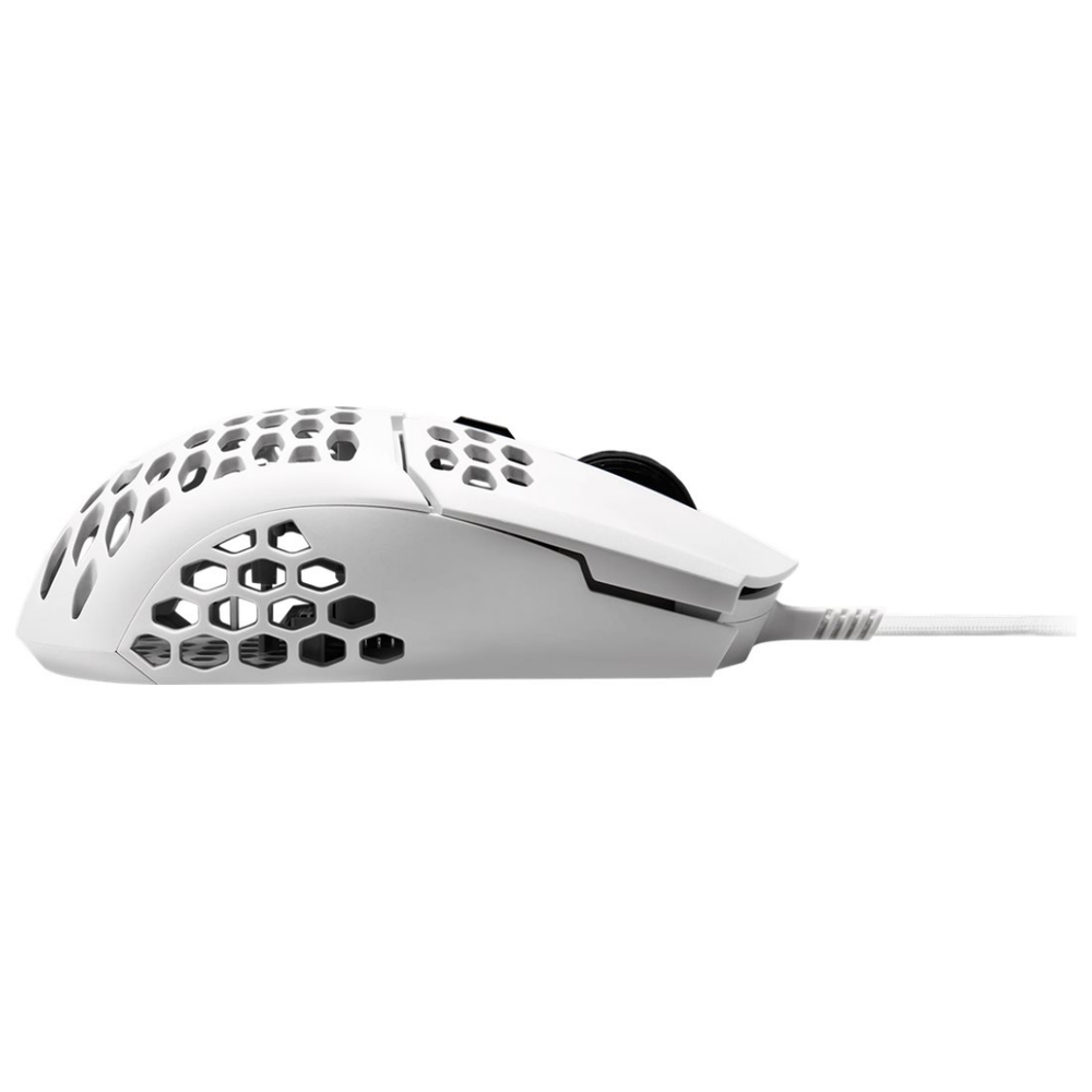 A large main feature product image of Cooler Master MasterMouse MM710 Matte White Lightweight Gaming Mouse