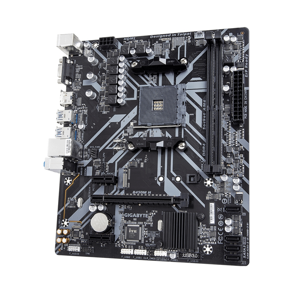 A large main feature product image of Gigabyte B450M-H AM4 mATX Desktop Motherboard