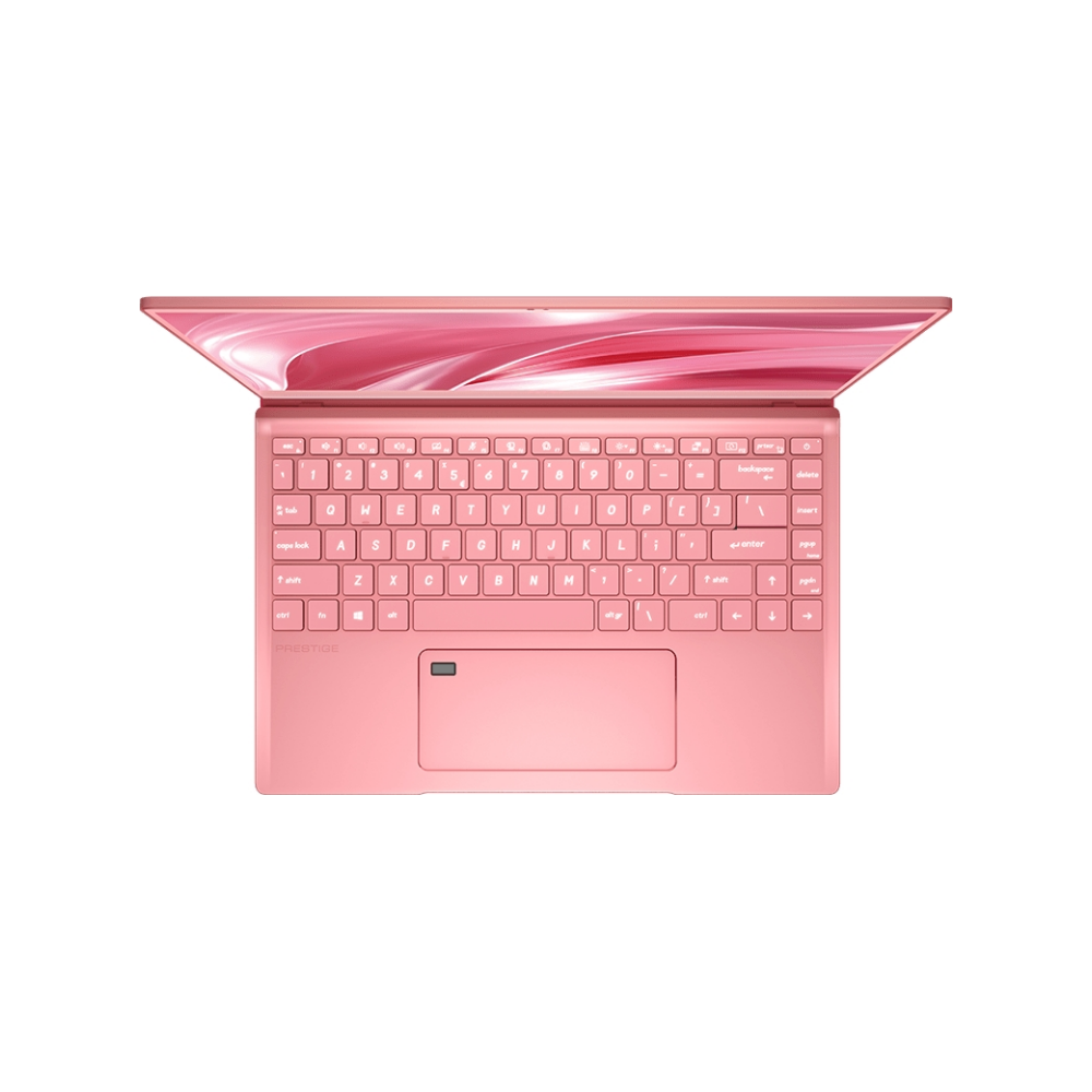 """A large main feature product image of MSI Prestige 14 Rose Pink 14""""  i7 MX330 Windows 10 Pro Notebook"""