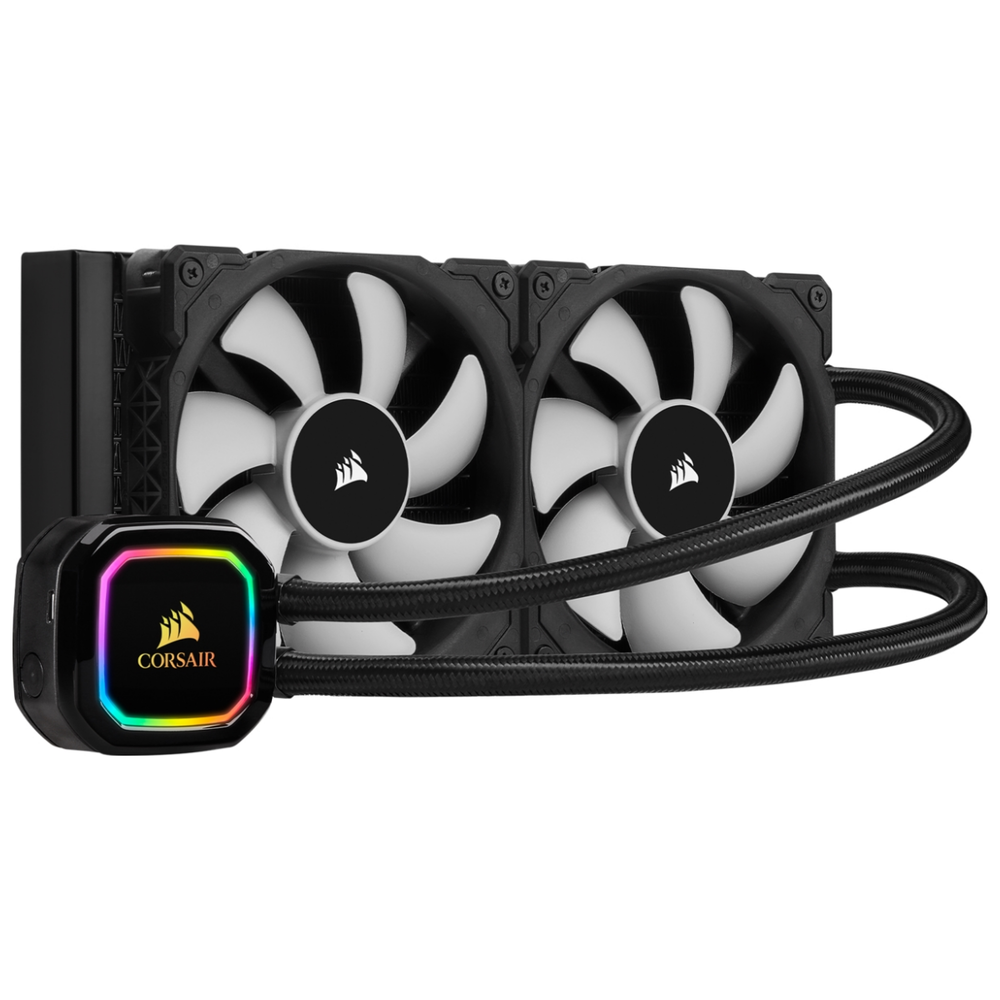 A large main feature product image of Corsair iCue H100i RGB Pro XT AIO Liquid CPU Cooler