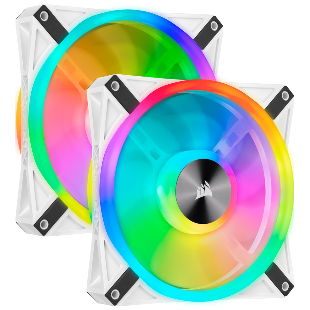 A large main feature product image of Corsair QL140 White RGB PWM 140mm Fan - Dual Pack