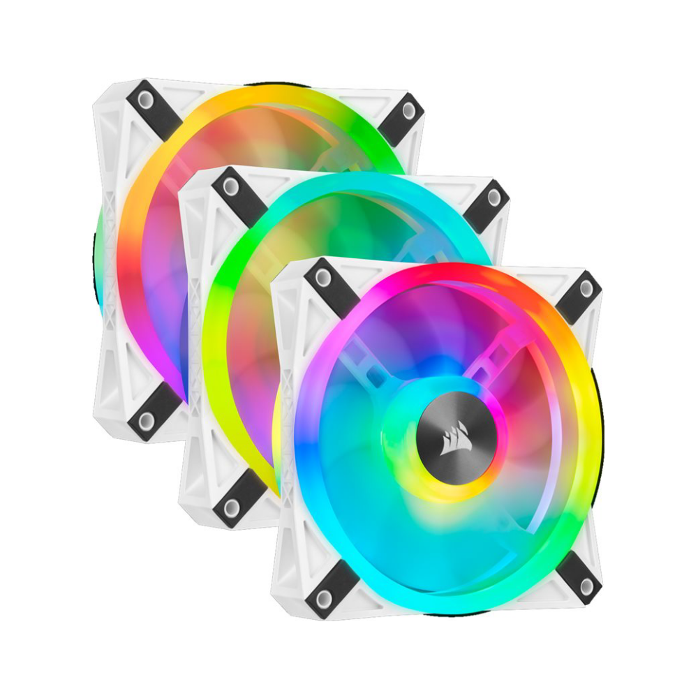 A large main feature product image of Corsair QL120 White RGB PWM 120mm Fan - Triple Pack
