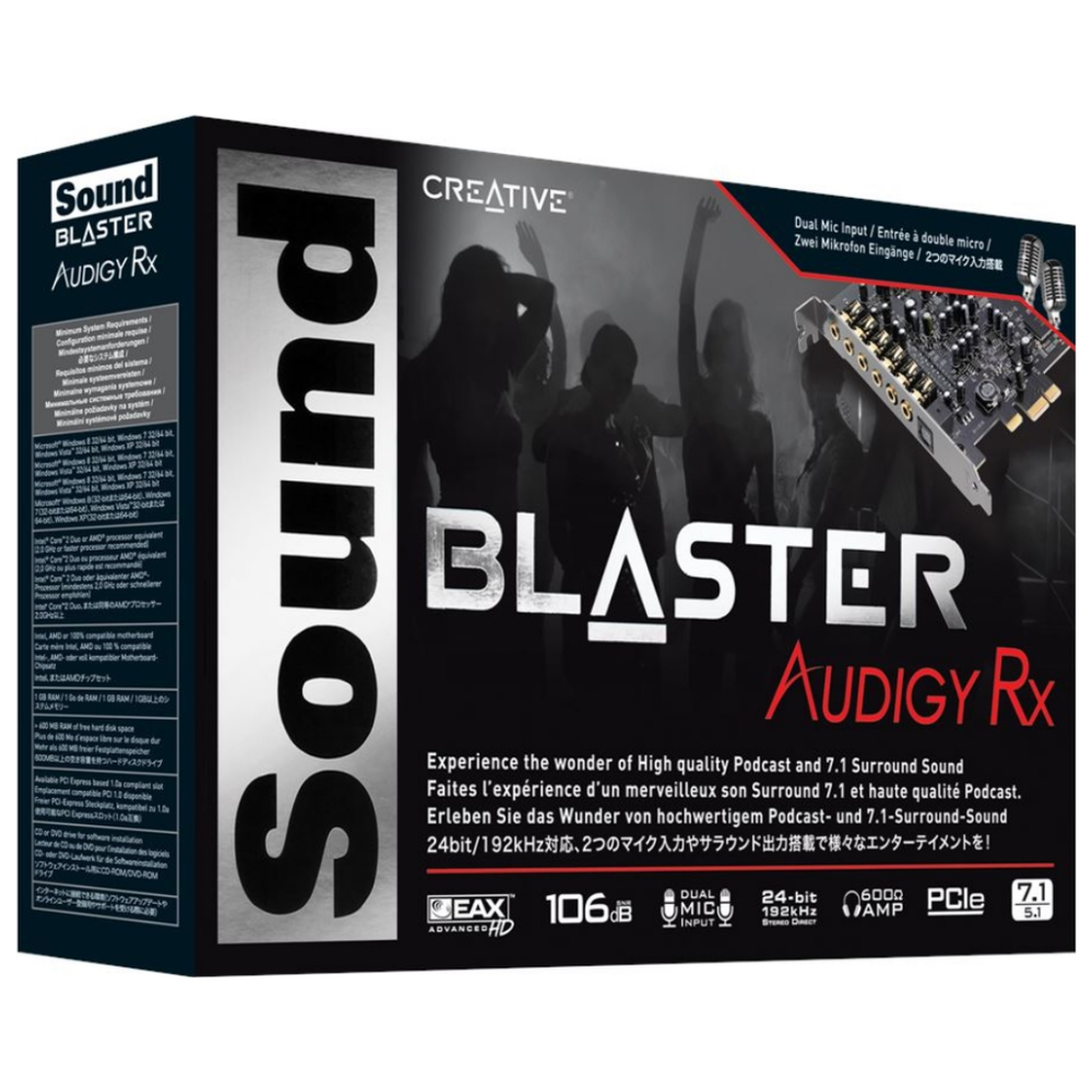 A large main feature product image of Creative Sound Blaster Audigy RX 7.1 Surround Sound Card
