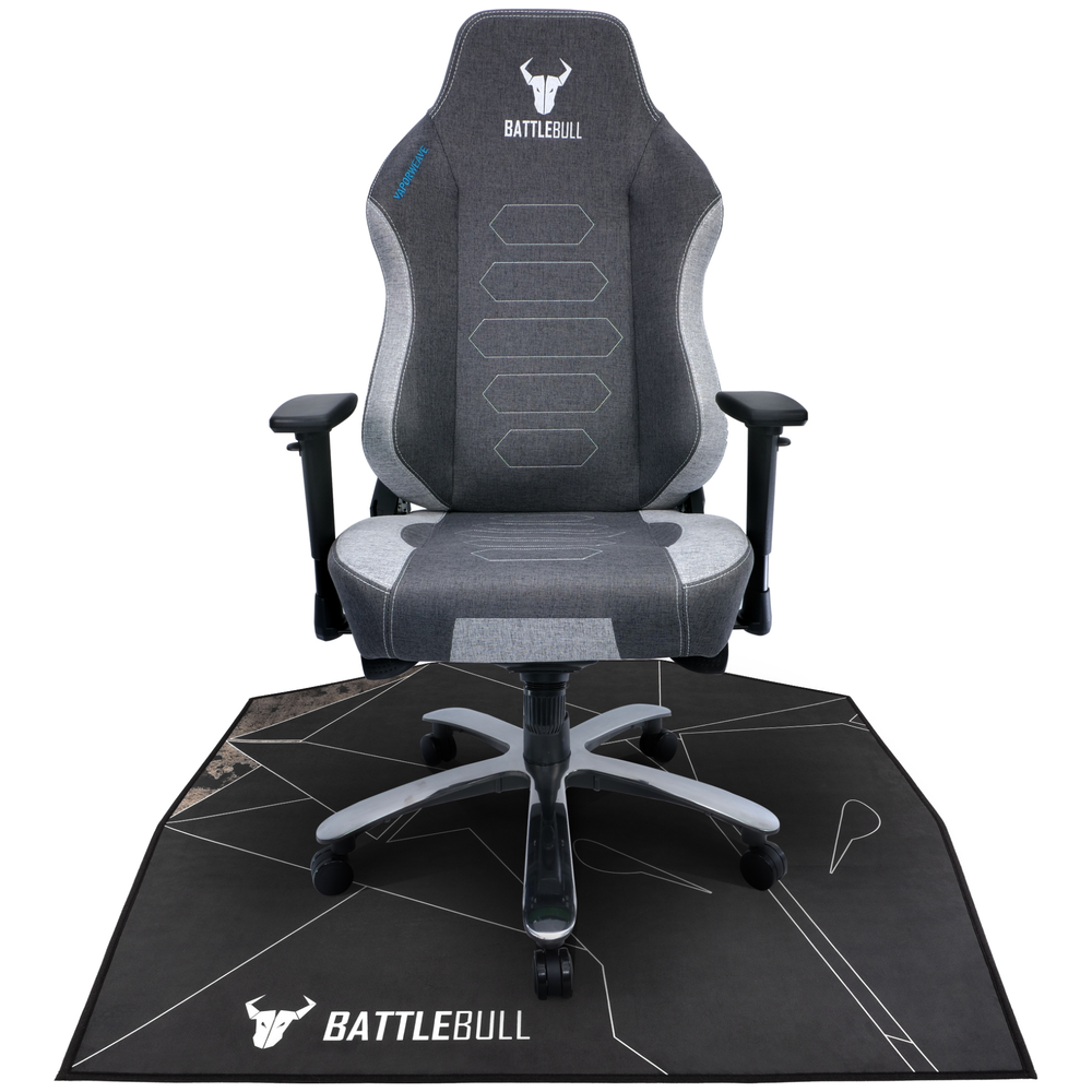 A large main feature product image of BattleBull Zoned Floor Chair Mat - Black/White