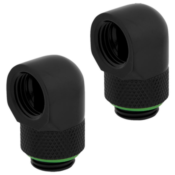 Product image of Corsair Hydro X Series XF AF Black 90 Degree Rotary Fittings (G1/4) - Dual Pack - Click for product page of Corsair Hydro X Series XF AF Black 90 Degree Rotary Fittings (G1/4) - Dual Pack