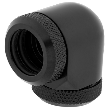Product image of Corsair Hydro X Series XF HL Black 90 Degree Fittings (14mm OD) 2 Pack - Click for product page of Corsair Hydro X Series XF HL Black 90 Degree Fittings (14mm OD) 2 Pack