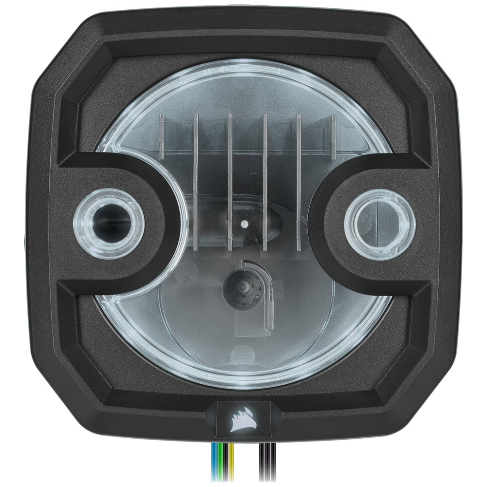 A large main feature product image of Corsair Hydro X Series XD3 RGB Pump/Reservoir Combo