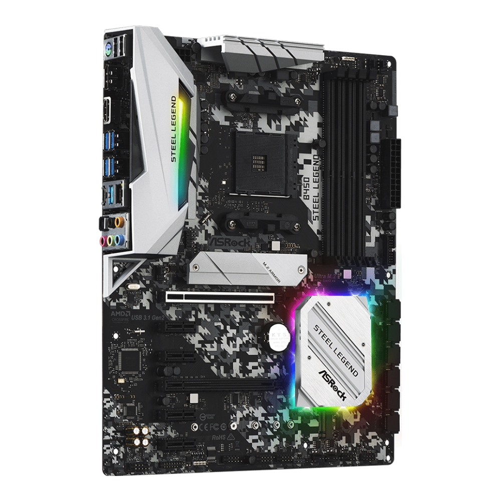 A large main feature product image of ASRock B450 Steel Legend AM4 ATX Desktop Motherboard