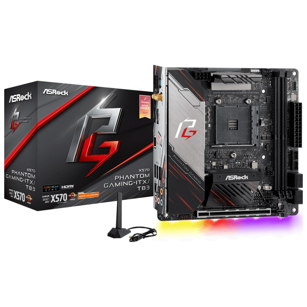 A large main feature product image of ASRock X570 Phantom Gaming-ITX/TB3 AM4 mITX Desktop Motherboard