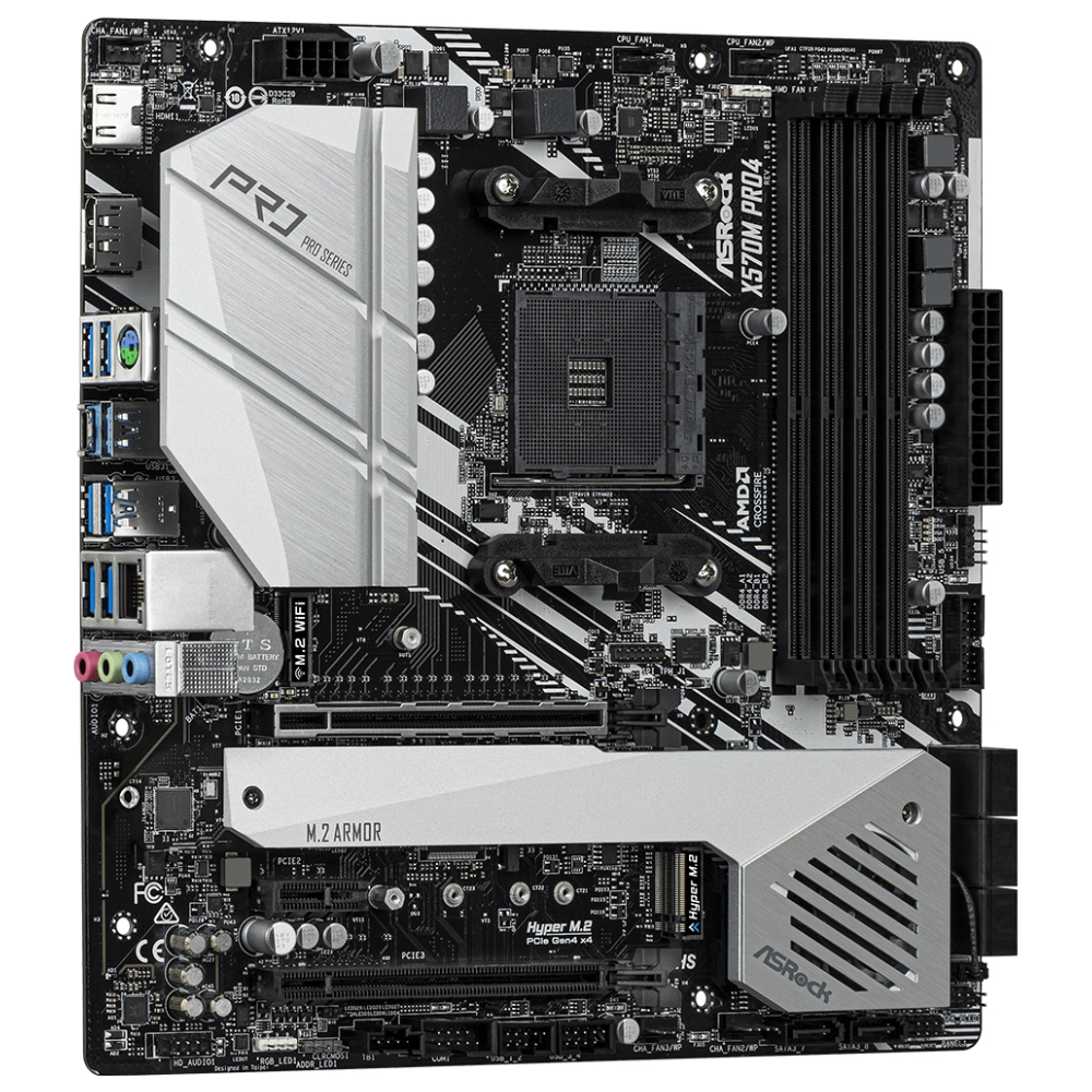 A large main feature product image of ASRock X570M Pro4 AM4 mATX Desktop Motherboard