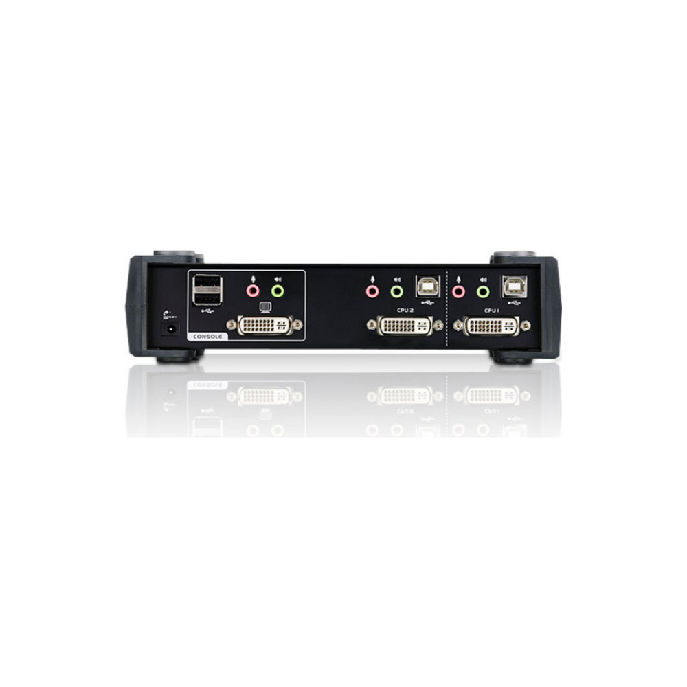 A large main feature product image of ATEN 2 Port DVI/Audio KVMP Switch