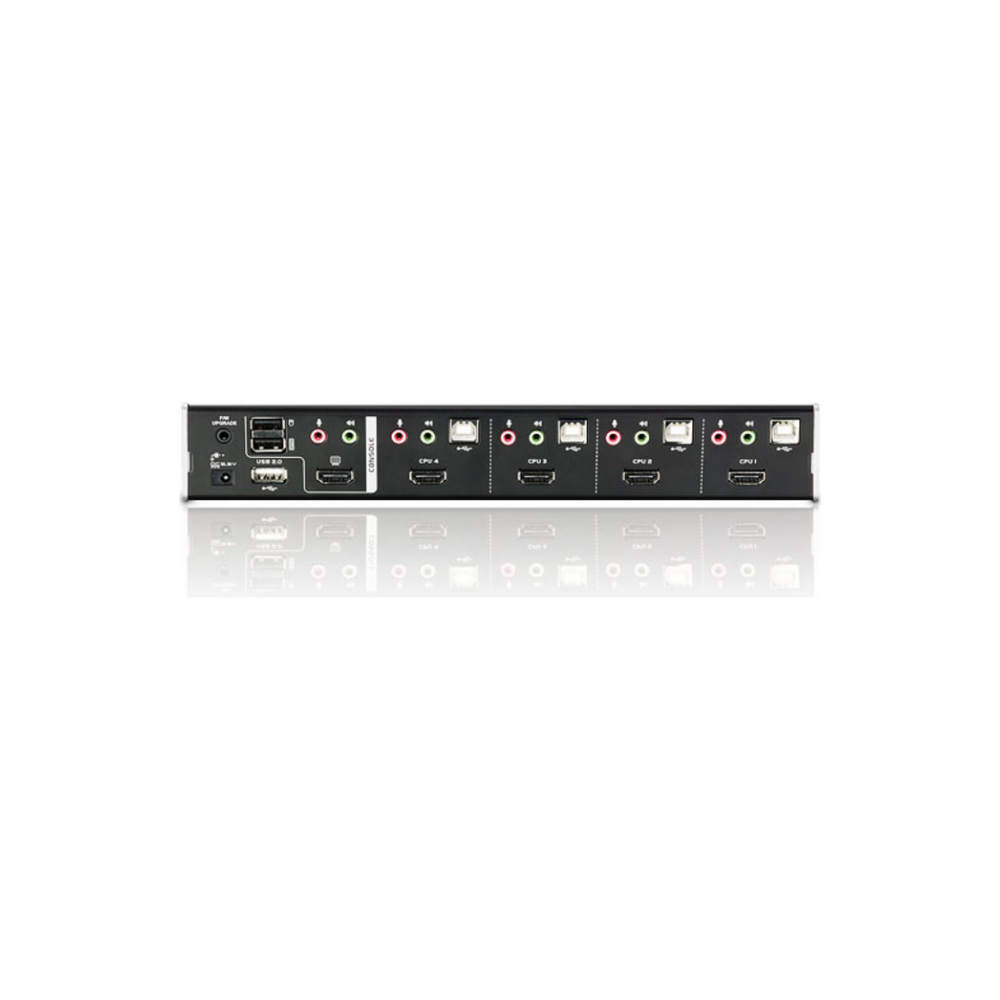 A large main feature product image of ATEN 4 Port HDMI/Audio KVMP Switch