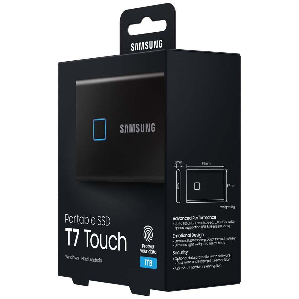 A large main feature product image of Samsung T7 Touch 1TB USB3.2 Black Portable SSD