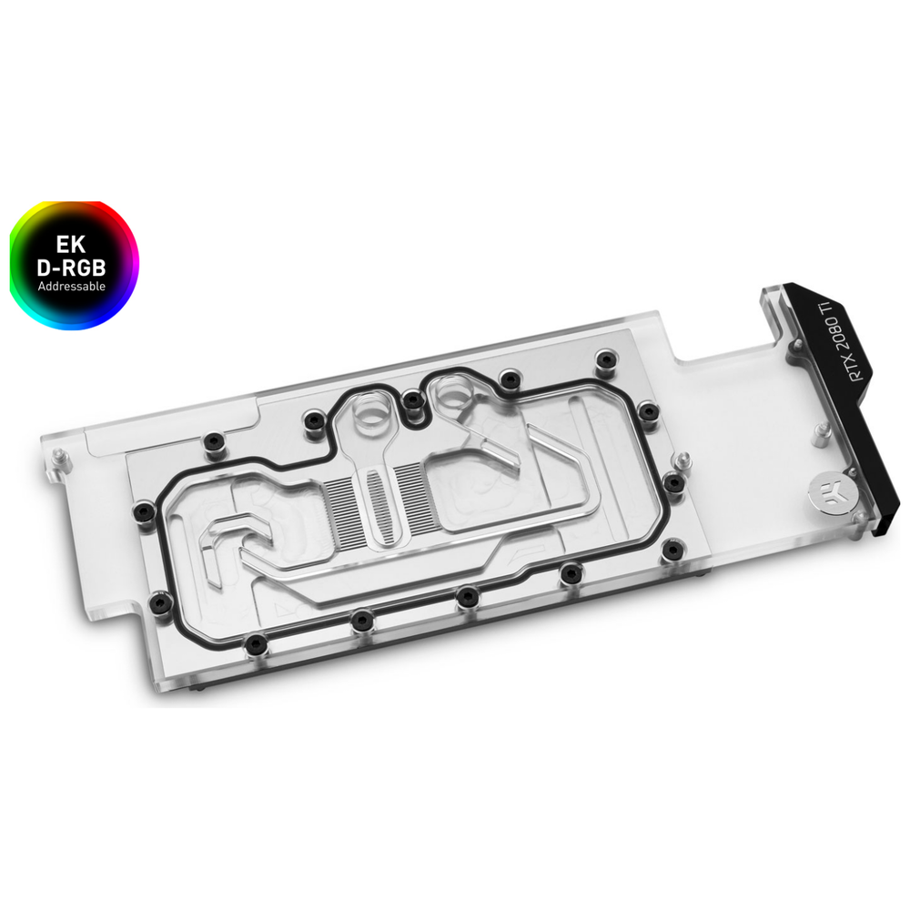 A large main feature product image of EK Quantum Vector Direct RTX RE Ti D-RGB - Nickel + Plexi