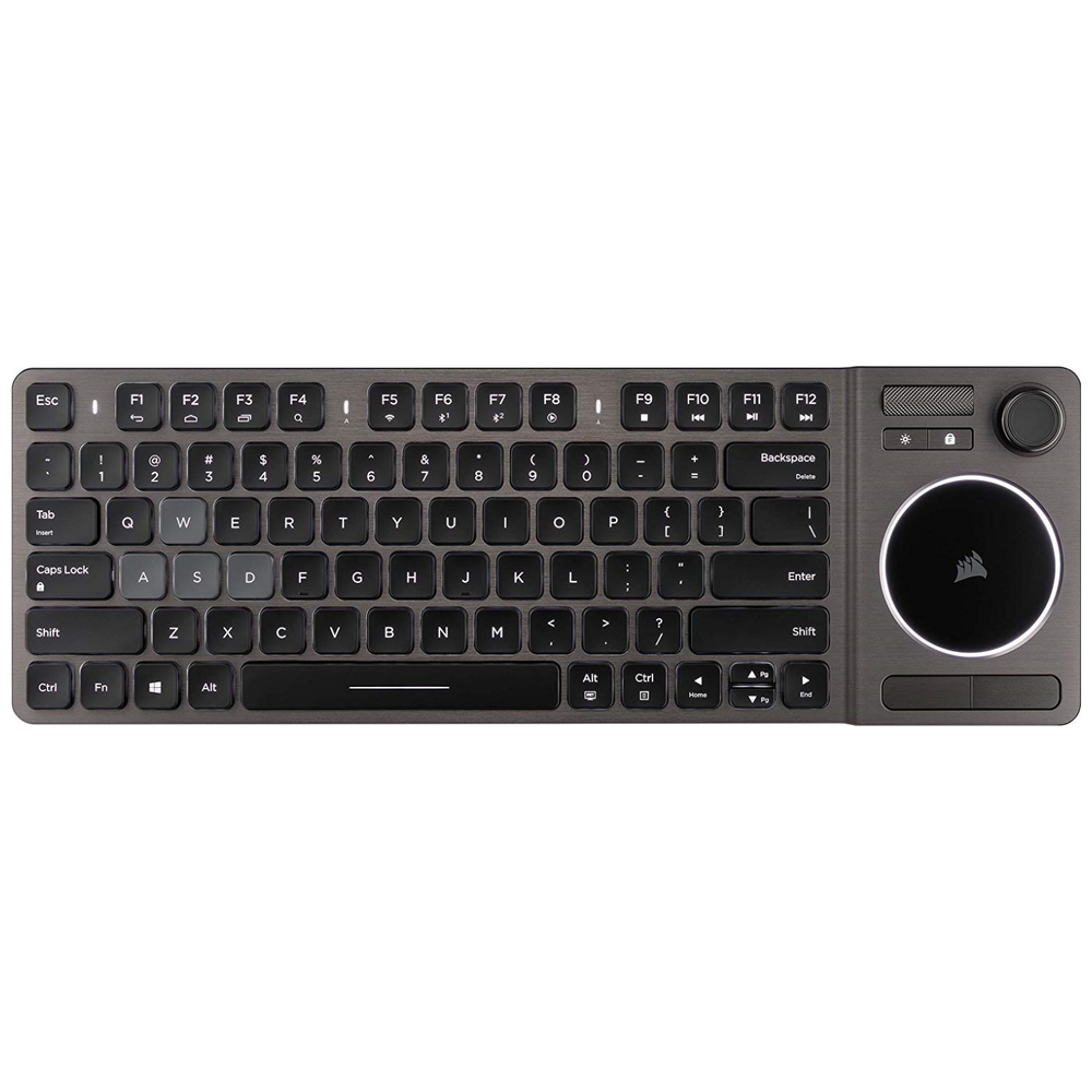 A large main feature product image of Corsair K83 Wireless Entertainment Keyboard