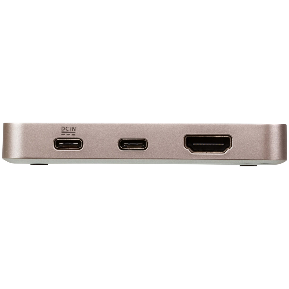 A large main feature product image of ATEN USB-C 4K Ultra Mini Dock with Power Pass-through