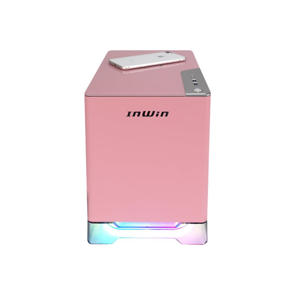 A large main feature product image of InWin A1 Plus Pink Mini-ITX Case w/ Tempered Glass Side Panel