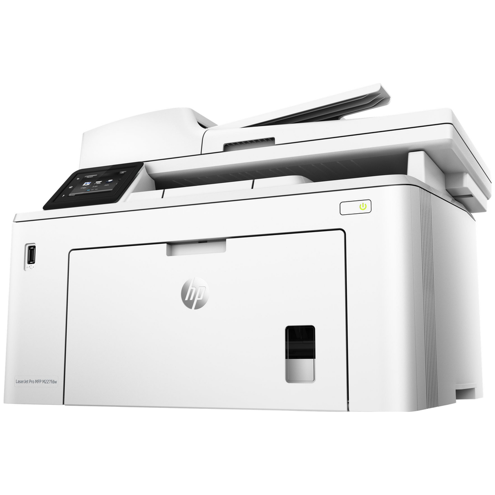 A large main feature product image of HP LaserJet Pro M227fdw Mono Laser Multifunction Printer