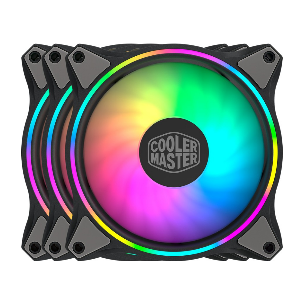 A large main feature product image of Cooler Master MasterFan MF120 Halo RGB 3-in-1 120mm Fan