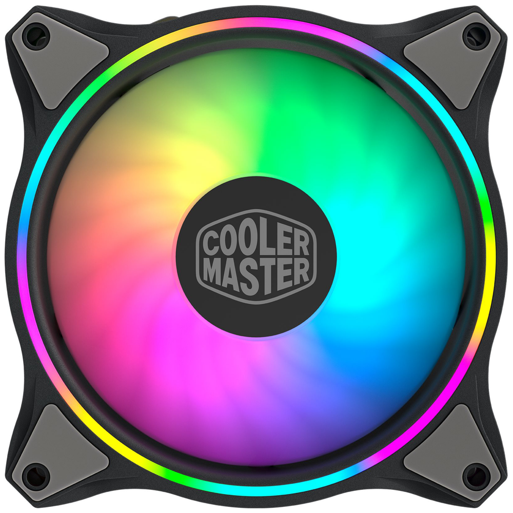 A large main feature product image of Cooler Master MasterFan MF120 RGB Halo 120mm Fan
