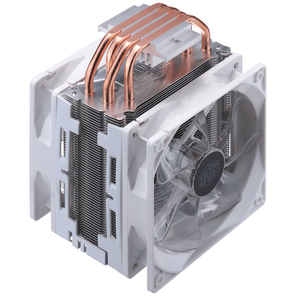 A large main feature product image of Cooler Master Hyper 212 Turbo CPU Cooler - White