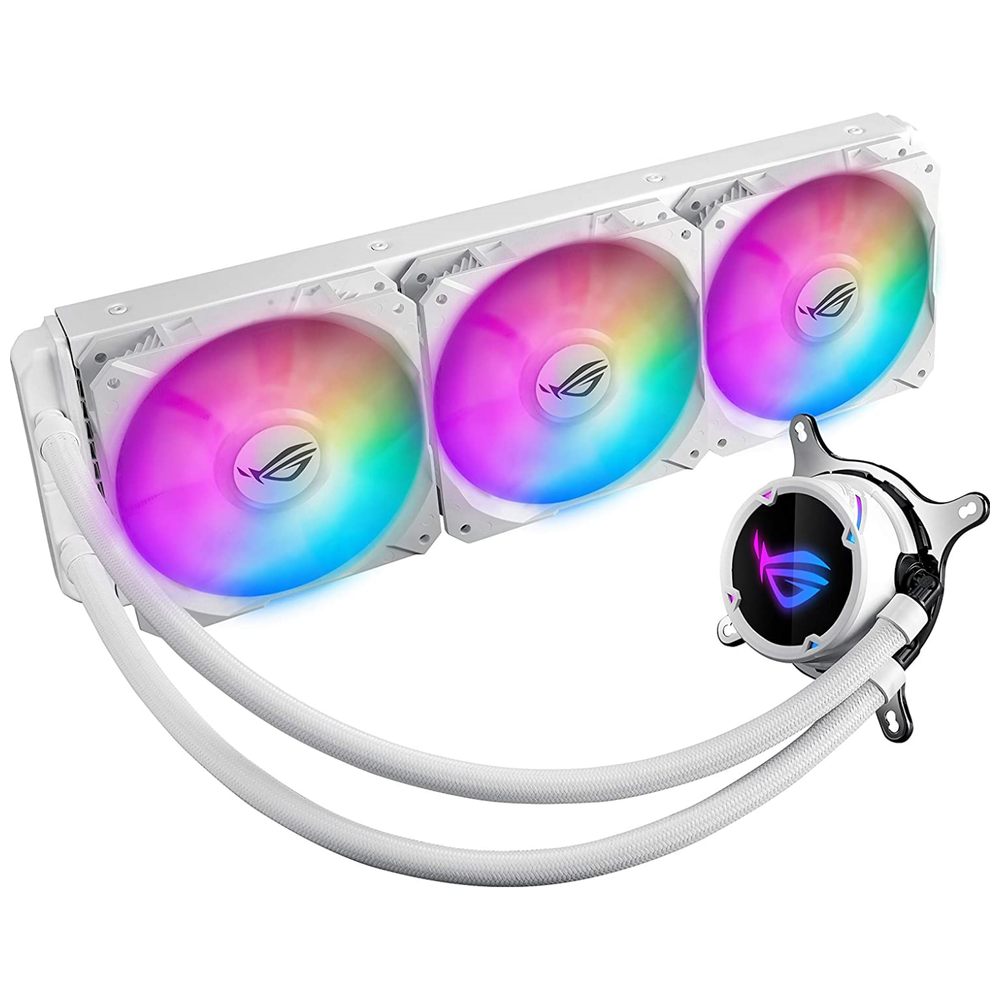 A large main feature product image of ASUS ROG Strix LC 360mm RGB White Edition AIO Liquid Cooler