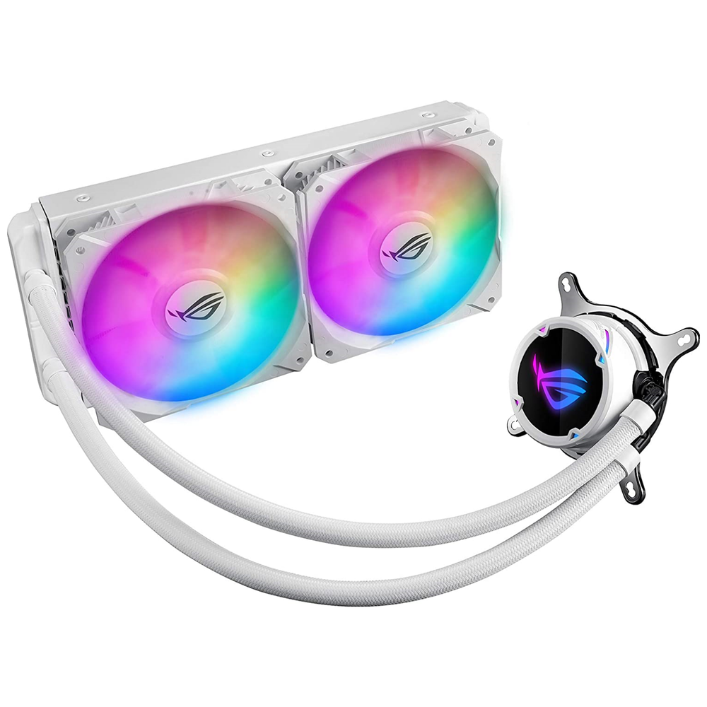 A large main feature product image of ASUS ROG Strix LC 240mm RGB White Edition AIO Liquid Cooler