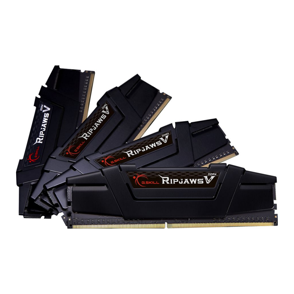 A large main feature product image of G.Skill 128GB Kit (4x32GB) DDR4 Ripjaws V C18 3600Mhz