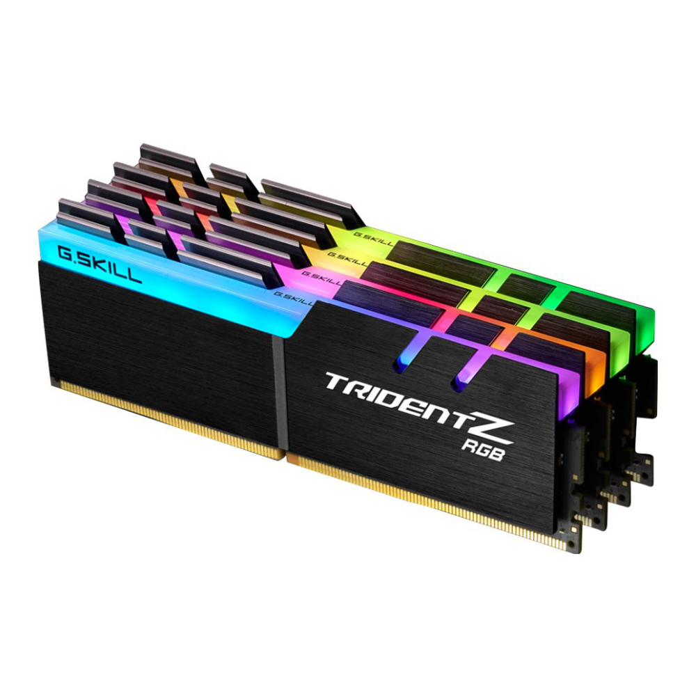 A large main feature product image of G.Skill 128GB Kit (4x32GB) DDR4 Trident Z RGB C16 3200Mhz