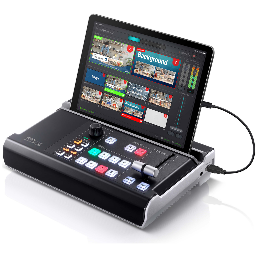 A large main feature product image of ATEN StreamLIVE HD Multi-Channel AV Mixer with Streaming support