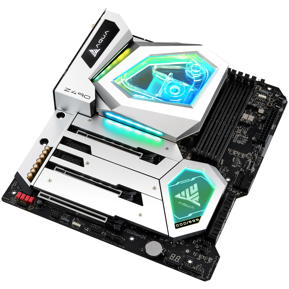 A large main feature product image of ASRock Z490 Aqua LGA1200 ATX Desktop Motherboard