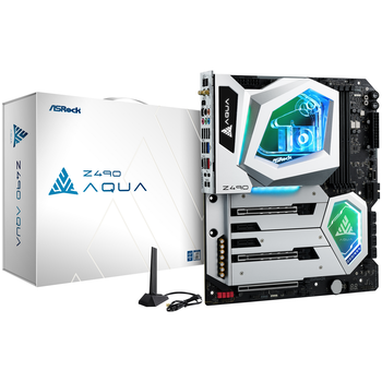 Product image of ASRock Z490 Aqua LGA1200 ATX Desktop Motherboard - Click for product page of ASRock Z490 Aqua LGA1200 ATX Desktop Motherboard