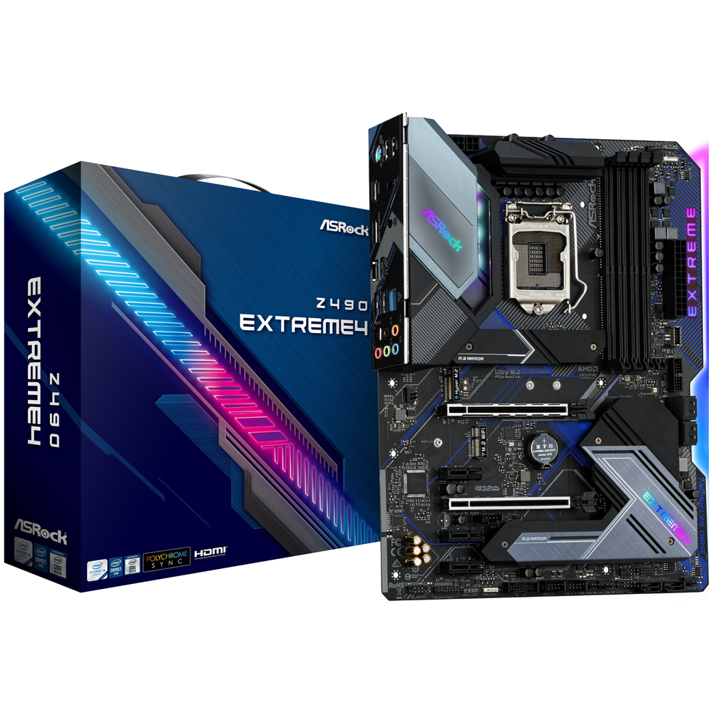 A large main feature product image of ASRock Z490 Extreme4 LGA1200 ATX Desktop Motherboard