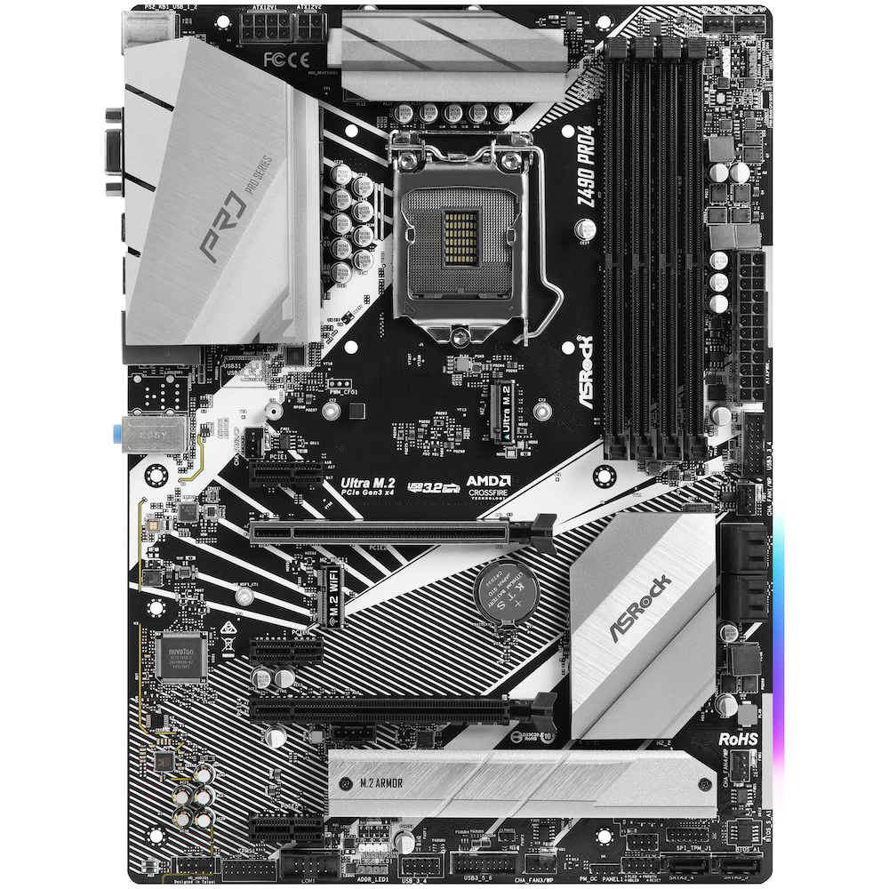 A large main feature product image of ASRock Z490 Pro4 LGA1200 ATX Desktop Motherboard