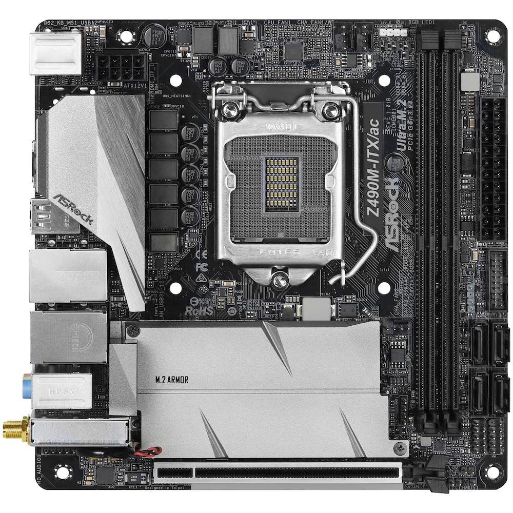 A large main feature product image of ASRock Z490M-ITX/ac LGA1200 mITX Desktop Motherboard