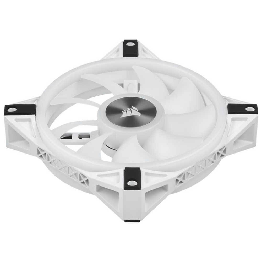 A large main feature product image of Corsair QL120 White RGB PWM 120mm Fan
