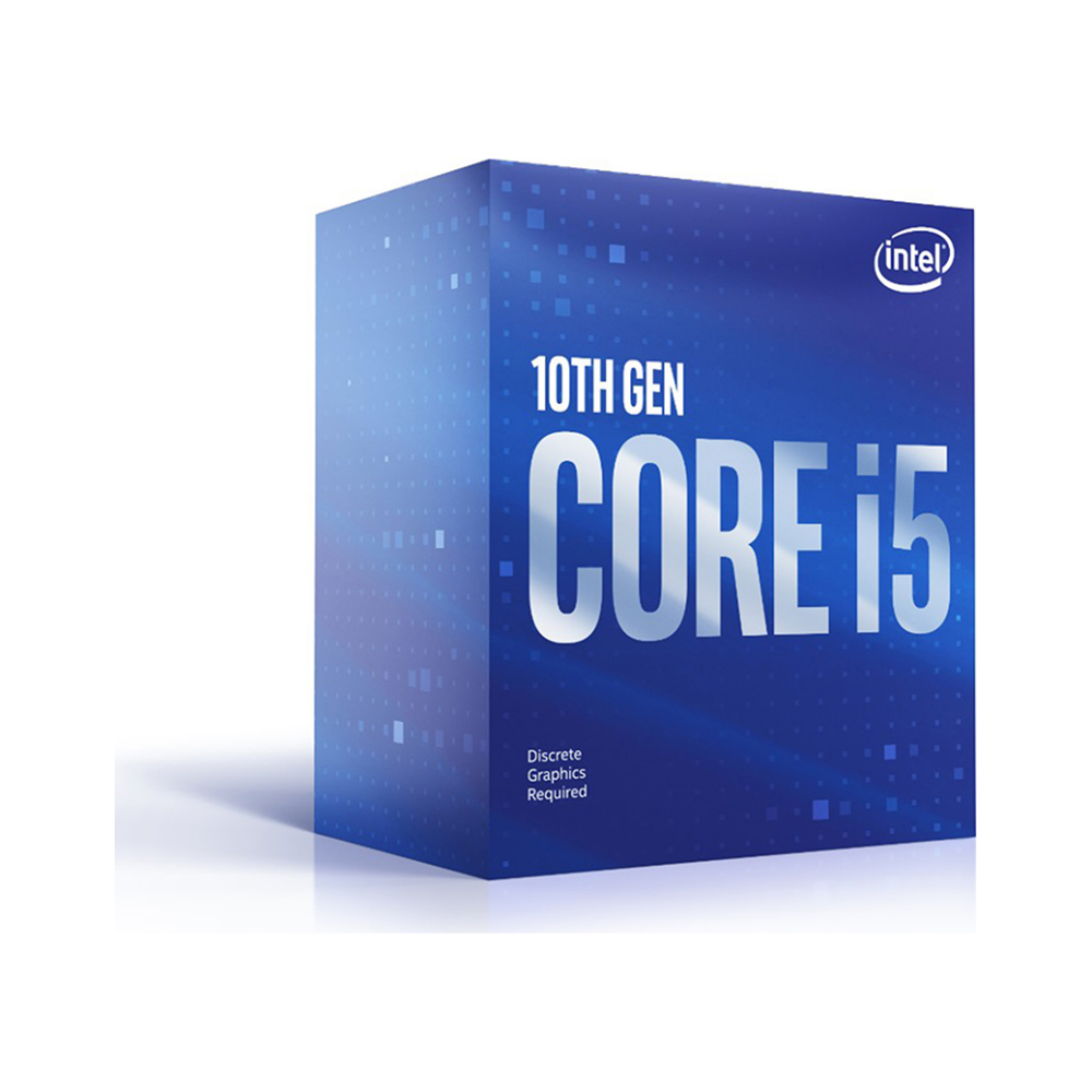 A large main feature product image of Intel Core i5 10400F Comet Lake 6 Core 12 Thread Up To 4.3Ghz LGA1200 - No iGPU Retail Box