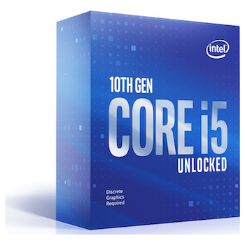 Product image of Intel Core i5 10600KF 4.1GHz Comet Lake 6 Core 12 Thread LGA1200 - No HSF/No iGPU Retail Box - Click for product page of Intel Core i5 10600KF 4.1GHz Comet Lake 6 Core 12 Thread LGA1200 - No HSF/No iGPU Retail Box
