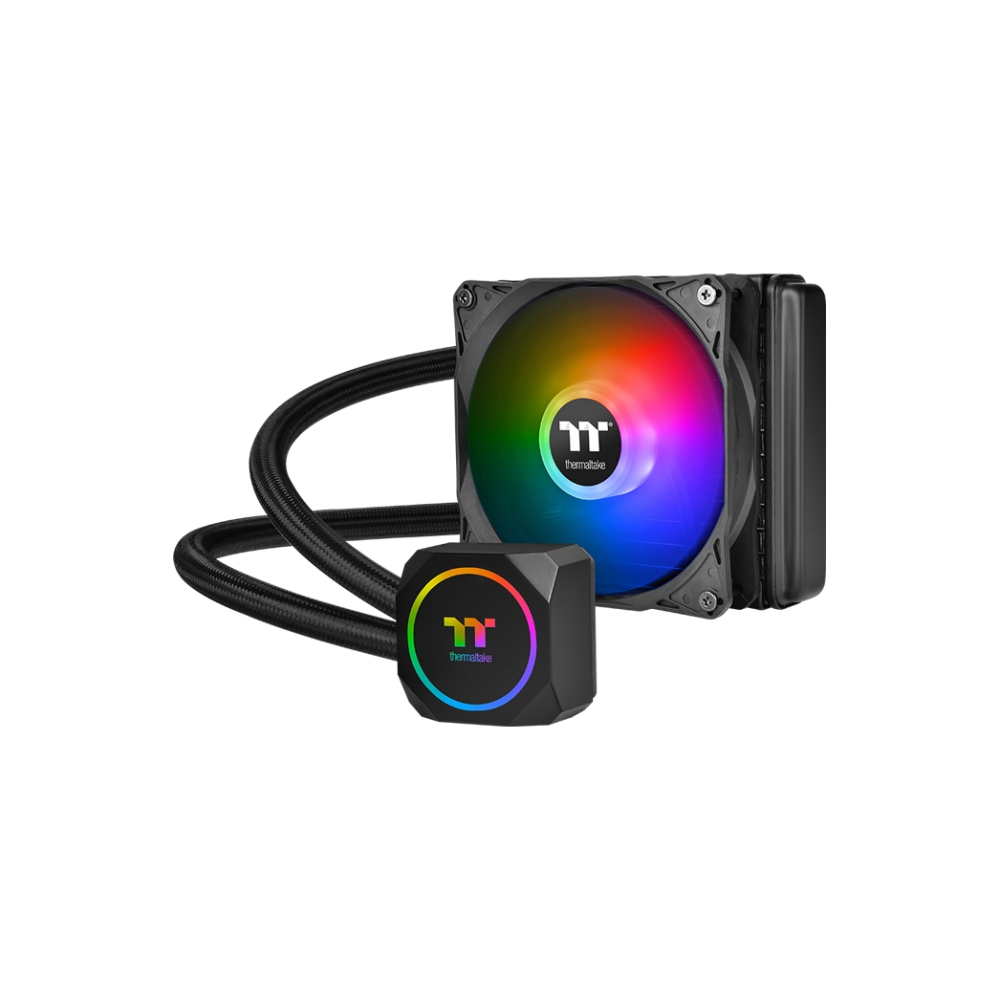 A large main feature product image of Thermaltake TH120 ARGB AIO Liquid CPU Cooler