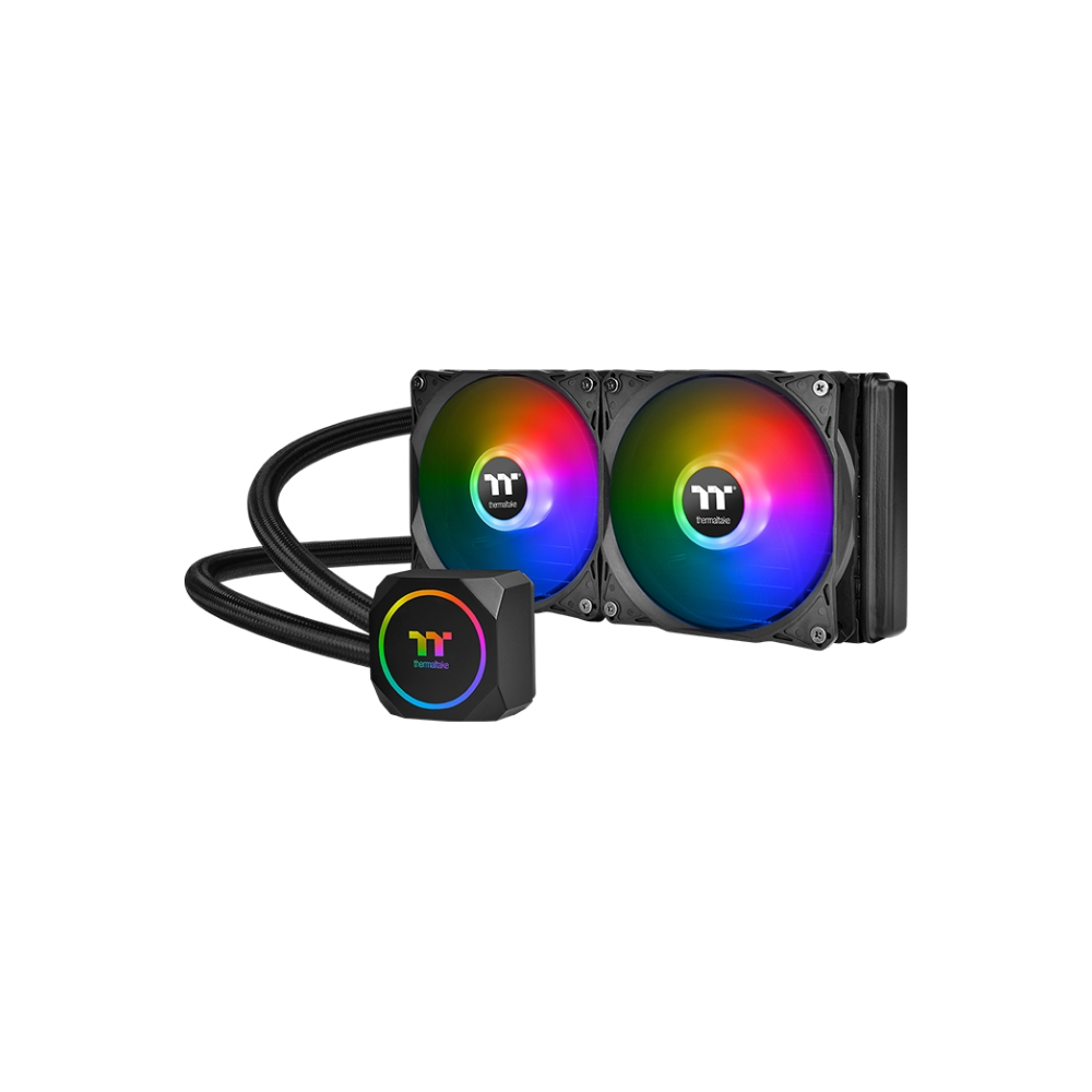 A large main feature product image of Thermaltake TH240 ARGB AIO Liquid CPU Cooler
