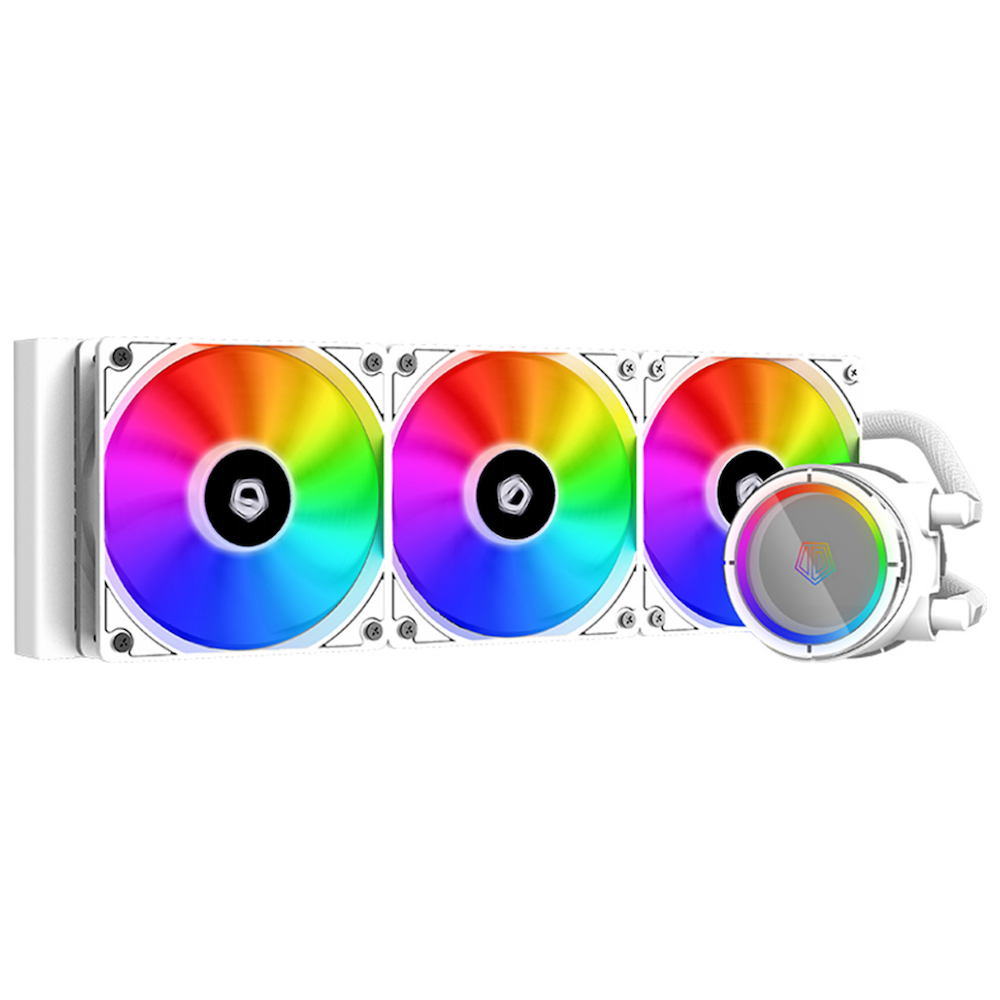 A large main feature product image of ID-COOLING ZoomFlow 360X SNOW RGB AIO CPU Liquid Cooler