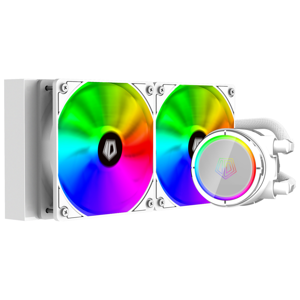 A large main feature product image of ID-COOLING ZoomFlow 240X SNOW RGB AIO CPU Liquid Cooler