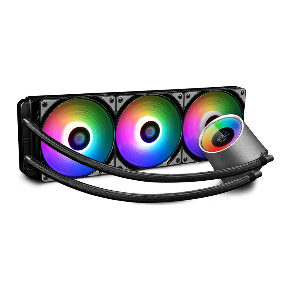 A large main feature product image of Deepcool CASTLE 360 RGB V2 AIO Liquid CPU Cooler