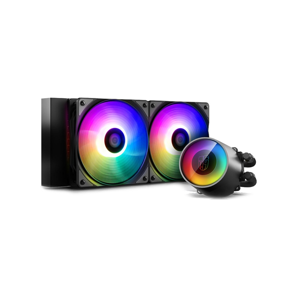 A large main feature product image of Deepcool CASTLE 240RGB V2 AIO Liquid CPU Coolers